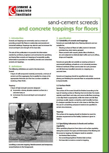 sand-cement screeds and concrete toppings for floors