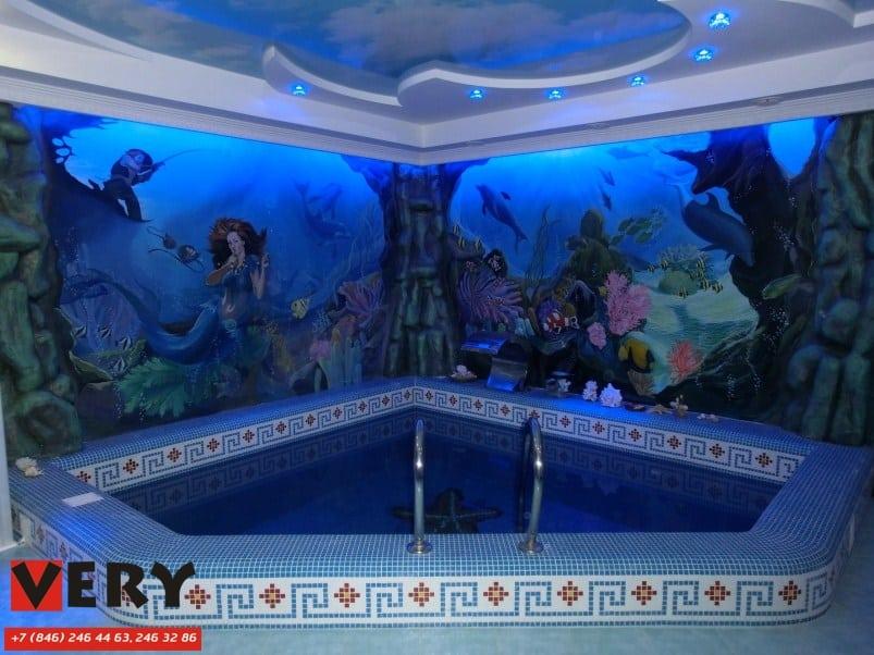 Декоративная роспись стен. Частный бассейн