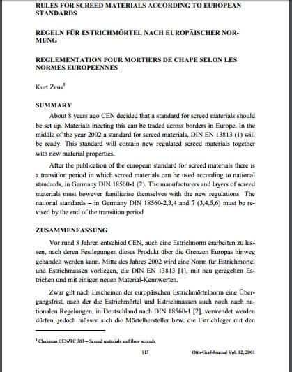 Европейские нормы качества материалов для стяжек DIN EN 13813