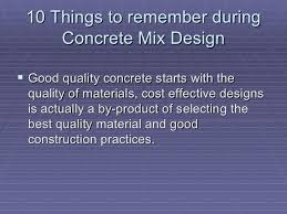 10 Things to Remember when doing Concrete Mix Design