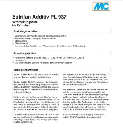 Добавка для бетонов и растворов Estrifan Additiv PL 937