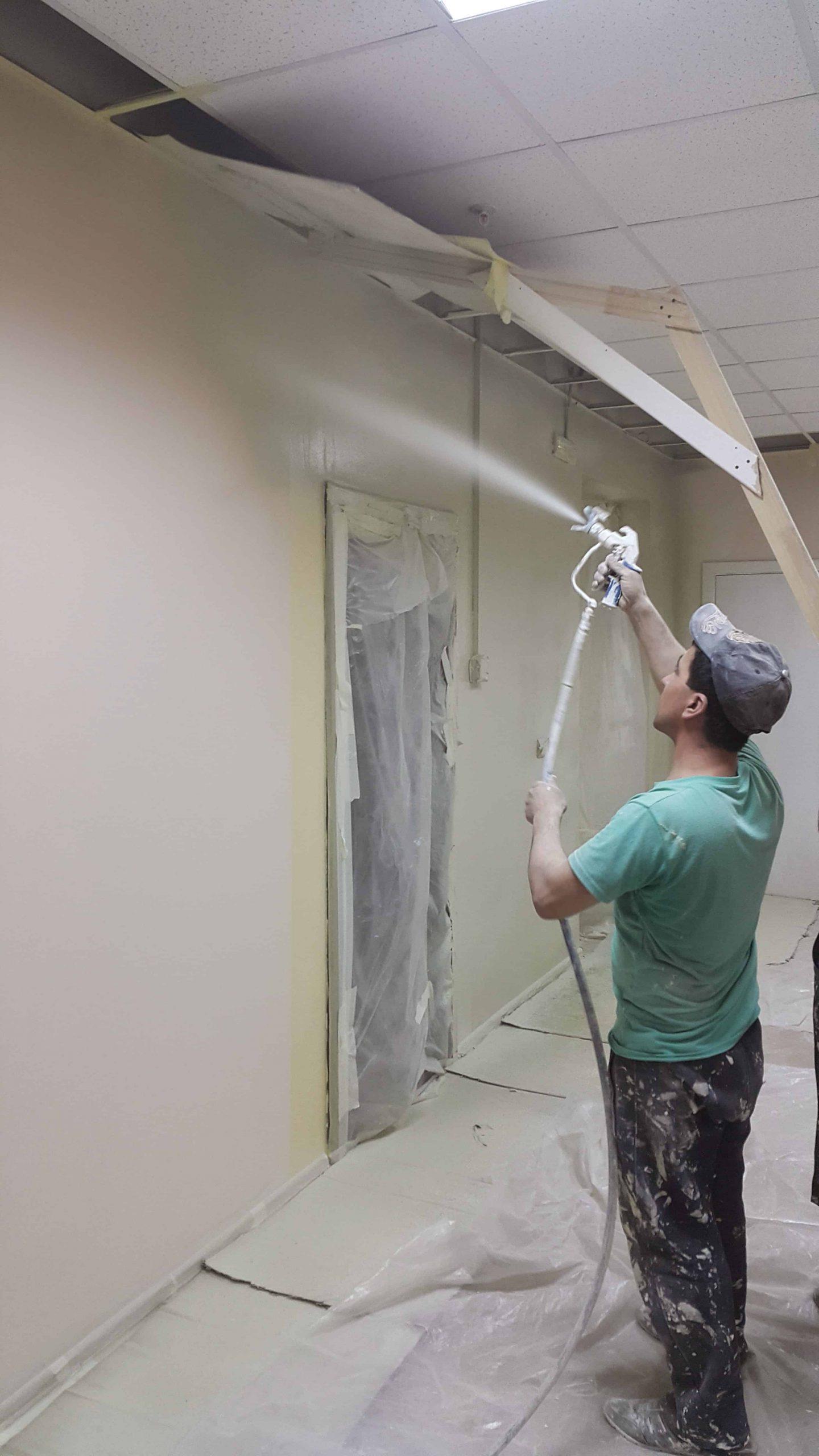 Безвоздушная окраска стен офиса в Самаре GRACO MARK V