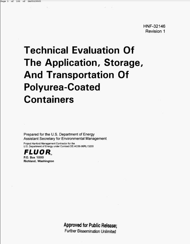 Техническая оценка, применение, хранение и транспортировка контейнеров с покрытием из полимочевины