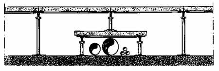 Монтаж фальшпола при наличии трубопроводов
